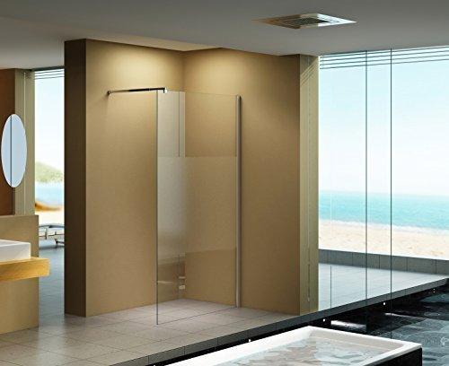 120x200 cm Duschabtrennung LILY Frost - Mitte , Milchglas, Klarglas, Duschwand, Walk-In Dusche, 10 mm ESG Sicherheitsglas