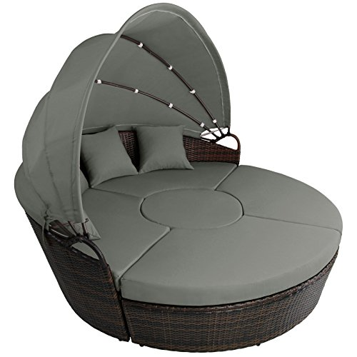 13-teilige Polyrattan Lounge-Muschel mit Sonnendach VIRGINIA von BB Sport, Farbe:Natur meliert / Kieselstrand