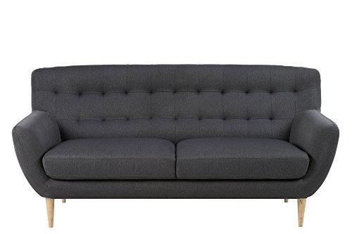 AC Design Furniture 60484 Sofa Jimmy 3-Sitzer, circa 185 x 87 x 84 cm, Stoff dunkelgrau