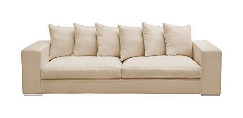 Amaris Elements | 'Monroe' Modernes 4-Sitzer-Sofa inklusive 6 Kissen, Couch, 100% Mikrofaser, beige - 4er Couch im Landhausstil