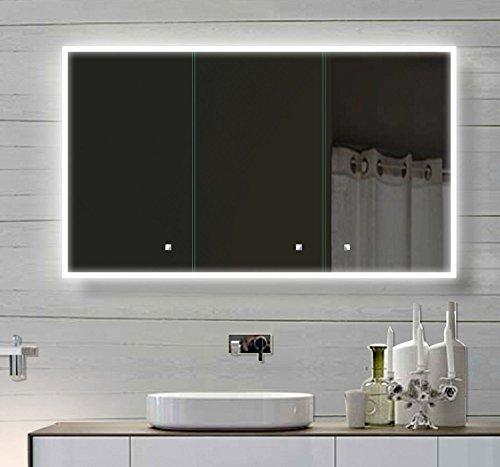 Alu Badschrank badezimmer spiegelschrank bad LED Beleuchtung 120 x 70cm SAC120H70