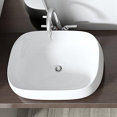 BTH: 50x38x15,5 cm Design Aufsatzwaschbecken Brüssel5105, aus Keramik inkl. NANO-Versiegelung, eckige Form (abgerundet), Waschschale, Waschtisch