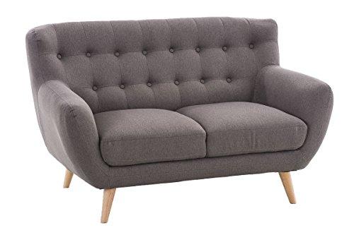 CLP 2er Sofa RIHANNA, Stoffbezug, stilvolle Zierknöpfe, dicke Polsterung, ca. 135 x 90 cm Hellgrau