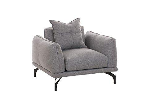 CLP Design-Sessel Lucien mit Stoffbezug I Relax-Sessel mit Extra Dicker Polsterung und Breiter Sitzfläche I in Verschiedenen Farbvarianten erhältlich Grau