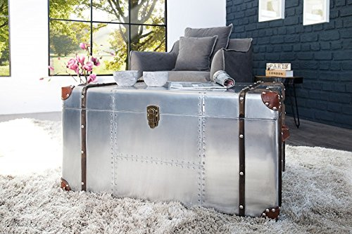 Casa Padrino Art Deco Designer Flieger Couchtisch Aluminium 80 x 60 x 40 cm - Vintage Look