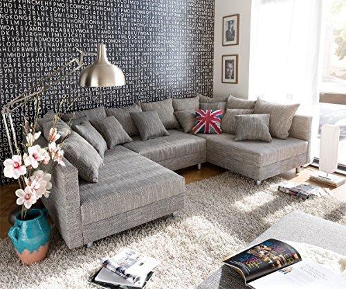 Couch Clovis XXL Hellgrau 300x185 Hocker Kissen Wohnlandschaft