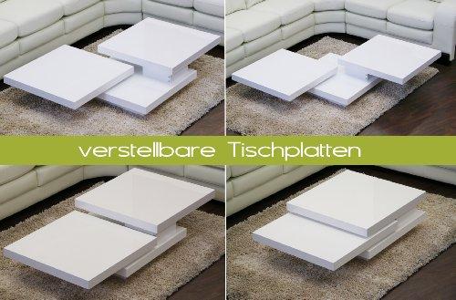 Moebella® Couchtisch CUBE Hochglanz Lack Weiss Loungetisch Beistelltisch Schwenkbar Drehbar