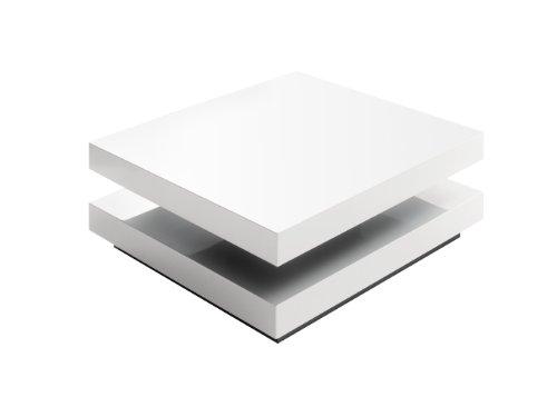 Robas Lund Couchtisch Wohnzimmertisch Hugo Hochglanz weiß Tischplatte drehbar 75x75x30 cm