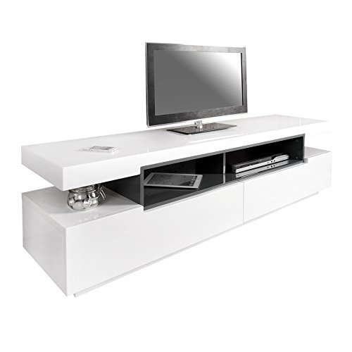 Design TV-Board Lowboard SASKIA Original MCA Hochglanz weiß-grau 160cm