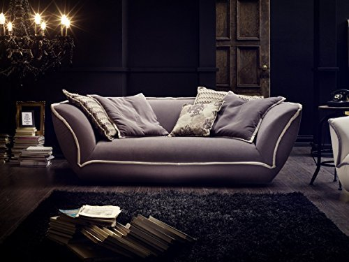 Dreams4Home Megasofa 'Supra' - Couch, Sofa, Wohnzimmer, Polstergarnitur, Bigsofa, Kuschelsofa, große Sitztiefe, Wellenfederung, Stellmaß BxT: 225 x 127 cm, in grau-beige