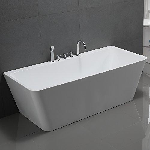 Freistehende Badewanne mit Armatur Acryl weiß Modern 170x80cm Sylt