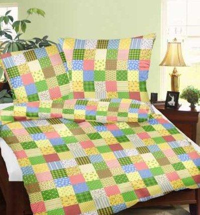 Genieße den Schlaf Seersucker Bettwäsche aus 100% Baumwolle Patchwork Schnittmuster grün, 100% Baumwolle, Grün, 135 x 200 cm