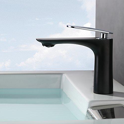 Homelody Elegant schwarz Wasserhahn bad mit Lack beschichtete Einhebelmischer Waschtischarmatur Waschbeckenarmatur Badarmatur Waschtisch Waschbecken Armatur für Badezimmer
