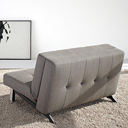 Innovation Schlafsofa mit Beinen aus Edelstahl Tjaze Textil dunkelgrau