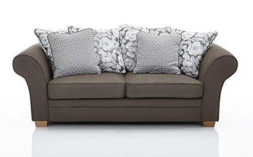 Landhaus Sofa modern hellbraun Stoff Eichefüße günstig