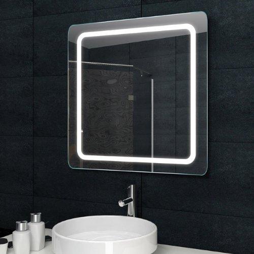 Lux-aqua Design Lichtspiegel Badezimmerspiegel LED Beleuchtung mit 840 Lumen 60 x 60cm MF6960