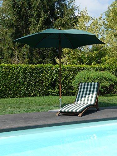 Maffei Art 66Madera. sechseckiger Sonnenschirm Durchmesser cm. 280aus Stoff Polyma. Gestell Effekt Holz. Made in Italy. Farbe Grün