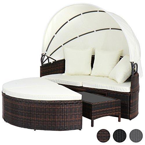 Miadomodo Polyrattan Sonneninsel Sonnenliege Lounge Gartenmöbel mit aufklappbarem Dach und Polyrattan Tisch mit Farbwahl