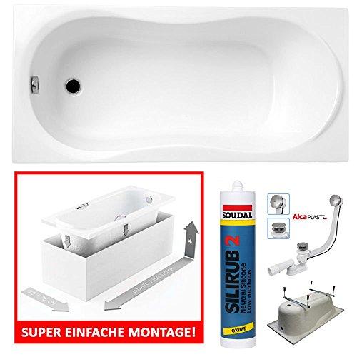 PREMIUM Rechteck Badewanne Acryl DESIGN 160x70 cm mit MONOLITISCHEM Wannenträger Füßen und Ablaufgarnitur GRATIS