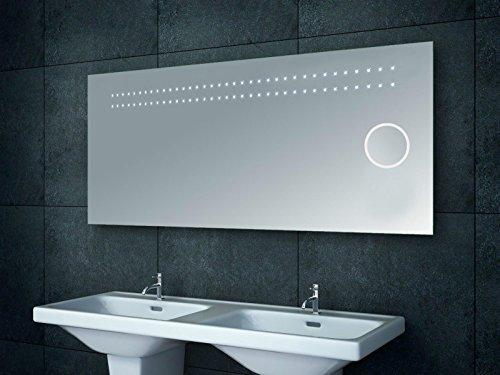 Badezimmerspiegel Wandspiegel mit Schminkspiegel LED-Beleuchtung XXL - 140x60x4,5 cm