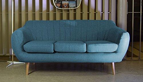 Retro Sofa Azure 3-Sitzer Stoff Petrol