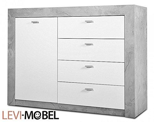 Generic Sideboard Wohnzimmer WOHNWAND ANBAUWAND Beton-Optik Weiß Hochglanz Neu 212962