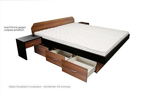 ORIGINAL bellvita Wasserbett mit Schubladensockel in Komforthöhe, Bettumrandung mit Aufbau, französisch nussbaum, 180 cm x 220 cm