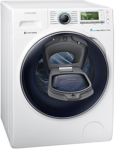 Samsung WW12K8402OW/EG Waschmaschine FL/A+++/141 kWh/Jahr/1400 UpM/12 kg/Add Wash/WiFi Smart Control/Super Speed Wash/Digital Inverter Motor/weiß