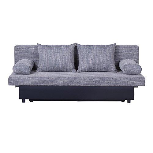 Schlafsofa Schlafcouch Sofa ZOE 2-Sitzer, in grau mit Bettkasten und Kissen, Kunstlederbezug und Strukturstoff