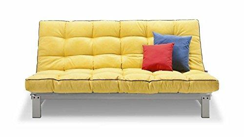 Schlafsofa senf Stoff Couch Liege Bett günstig