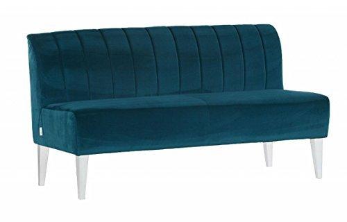 Sofa RETRO Zweisitzer Stoff Petrol Blau Sofa Holzfüße weiß günstig