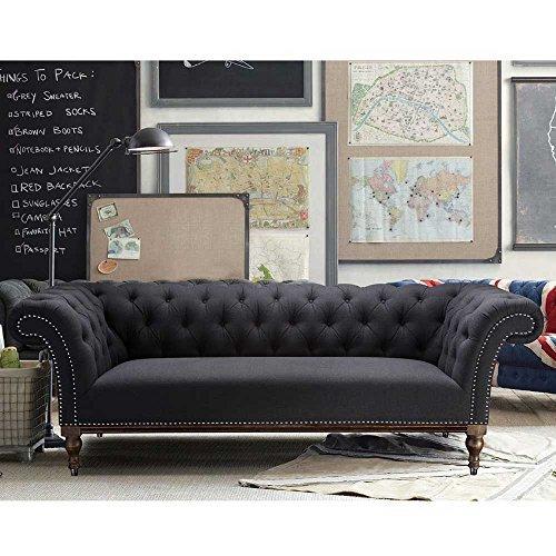 Pharao24 Sofa im Retro Style Anthrazit