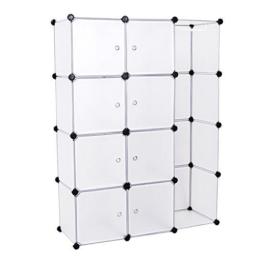Songmics Kleiderschrank Garderobenschrank Steckregalsystem Kapazität 590L Weiß 145 x 110 x 37 cm LPC30BW