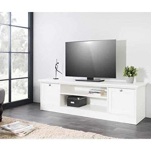 TV Board ROMANTICA Landhaus Lowboard in Weiß 160x48x45cm mit 2 Fächern und 2 Türen
