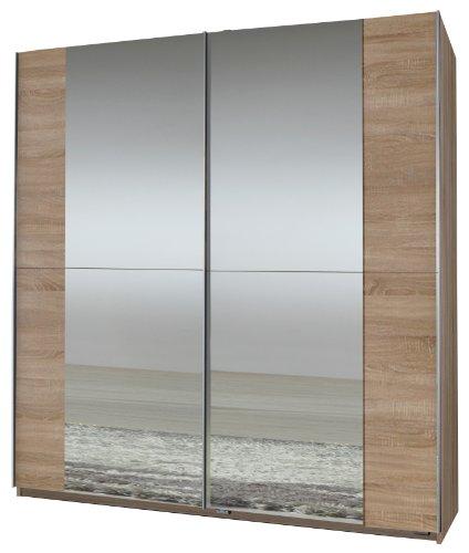 Wimex Kleiderschrank/ Schwebetürenschrank Queen, 2 Spiegel, (B/H/T) 180 x 198 x 64 cm, Eiche Sägerau