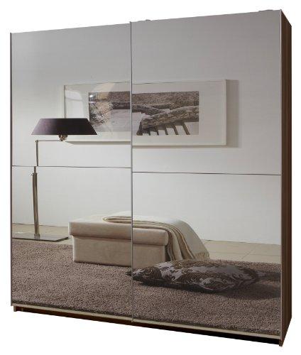 Wimex Kleiderschrank/ Schwebetürenschrank Queen, (B/H/T) 135 x 198 x 64 cm, Französich Nussbaum/ Vollverspiegelt