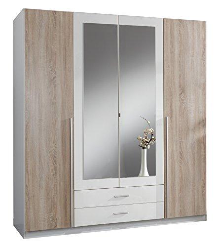 Wimex Kleiderschrank/Drehtürenschrank Skate, 4 Türen, 2 Schubladen, 2 Spiegel, (B/H/T) 180 x 197 x 58 cm, Weiß/Absetzung Eiche Sägerau