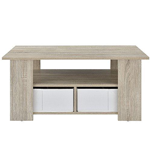 [en.casa] Couchtisch (90 x 50 x 41 cm) furniert (Eiche) Aufbewahrungsboxen (weiß - Leinen Optik) mit Regalfach und Stauboxen