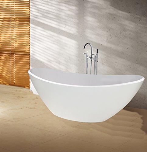 """perfect-spa Freistehende Badewanne """"Toscana"""" Wanne inkl. Ab- und Überlauf Exclusive freistehende Badewanne Acrylwanne Wanne Dusche Bad"""