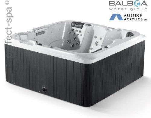 """perfect-spa Whirlpool """"Orlando"""" Indoor / Outdoor für 5 Pesonen Whirlpools Aussenwhirlpool Hot Tub Spa Außenwhirlpool Baboa Steuerung (Wanne Sky White, Außenverkleidung Schwarz)"""