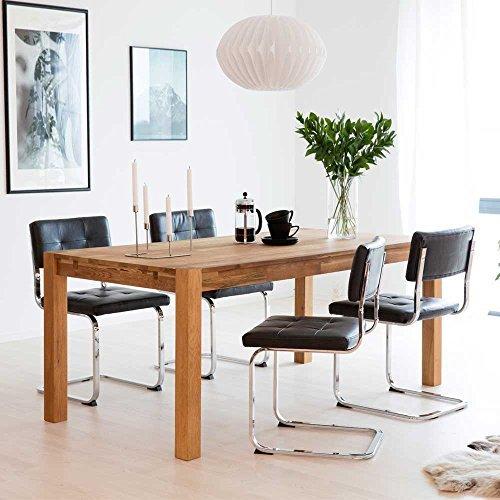 Esstisch mit Stühlen aus Eiche Massivholz Schwarz Kunstleder (5-teilig) Pharao24