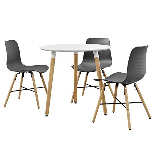 Runder Tisch in edlem Retro-Design + Designstuhl im 3er-Set