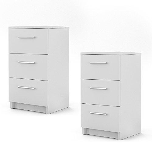 Nachtkommode für Boxspringbett 2-er Set 66cm hoch weiß Nachtschrank Nachttisch Kommode Schrank - bequem erreichbar - 3 Schubladen