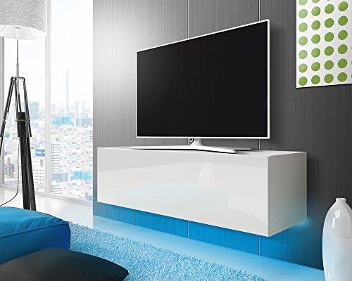 TV Schrank Lowboard Hängeboard SIMPLE mit LED Blau (Weiß Matt / Weiß Hochglanz 140 cm)