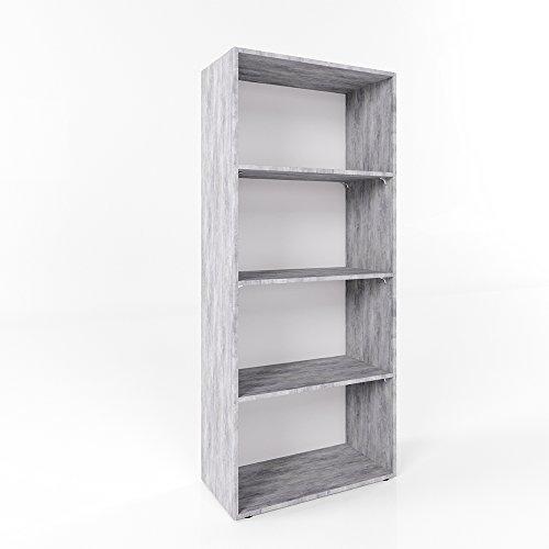 Bücherregal 155 x 60cm 4 Fächer Wandregal Holzregal Aktenschrank Ordner Akten Büro - PREMIUM Qualität - Auswahl