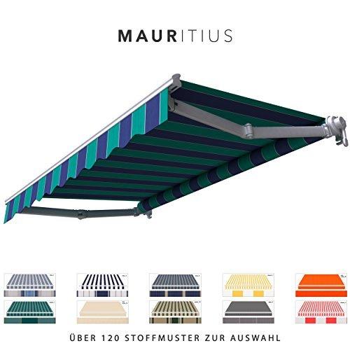 BroxSun Gelenkarmmarkise Mauritius | Breite 1,9 bis 5m | Auslage bis 3,1m | Auswahl: 120 Stoffe, manuell oder elektrisch uvm. | wetterfeste Markise elektrisch Sonnenschutz für Terrasse beschattung