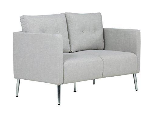massivum Sofa Melrose 2Sitzer Stoff hellgrau Couch Polstermöbel Wohnmöbel Sitzmöbel