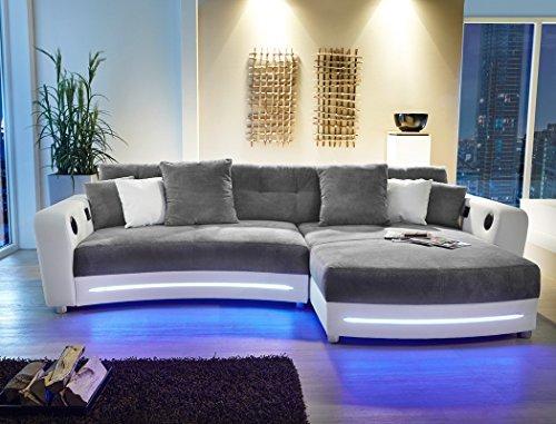 Multimedia Sofa Larenio HiFi Wohnlandschaft 322x200 cm grau weiß Couch Mikrofaser Hi Fi LED Beleuchtung Wohnzimmer