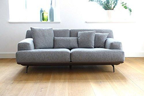 CAGUSTO Großes Design Sofa LENDUM 3-Sitzer Grau Webstoff, modernes high-end Polstersofa auf Platform und zerlegbar, elegante Couchgarnitur mit Kissen, auch als Zweisitzer erhältlich