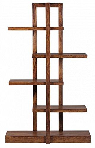 WOHNLING Bücherregal Massiv-Holz Sheesham 180 cm Wohnzimmer-Regal mit 5 Ablagefächern Design Landhaus-Stil Standregal Natur-Produkt Wohnzimmermöbel Unikat modern Massivholz-Möbel Echtholz Holzregal